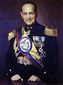 General Gustavo Rojas Pinilla, dictador de Colombia, fundador de la ANAPO, de donde surgió la guerrilla del M-19 y el Polo Democrático