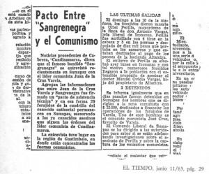 Pacto entre Sangrenegra y el Partido Comunista