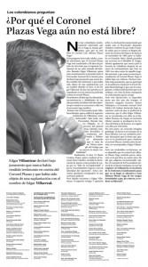 Facsimil de comunicado de notables pidiendo la libertad del coronel Plazas Vega