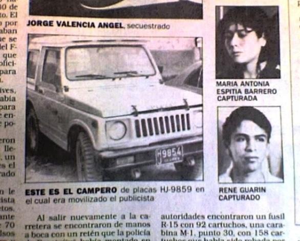 """Facsimil de la noticia de prensa del diario El Tiempo del 28 de mayo de 1988, Sección Primer Plano, bajo el título """"Frustrado secuestro de un ejecutivo de Atlas Publicidad"""". Se informa sobre el secuestro de Jorge Valencia Ángel, a manos del M-19. La Policía capturó a dos de los secuestradores, uno de ellos René Guarín. El mismo que acusó al coronel Plazas Vega por secuestro y desaparición de su hermana Cristina Guarín, quien luego se comprobó que nunca había sido secuestrada"""