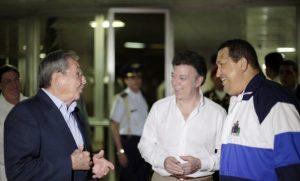 Raúl Castro, Juan Manuel Santos y Hugo Chávez