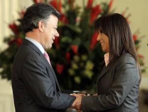Martha Lucía Zamora y Juan Manuel Santos