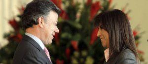 Juan Manuel Santos y la fiscal Martha Lucía Zamora.