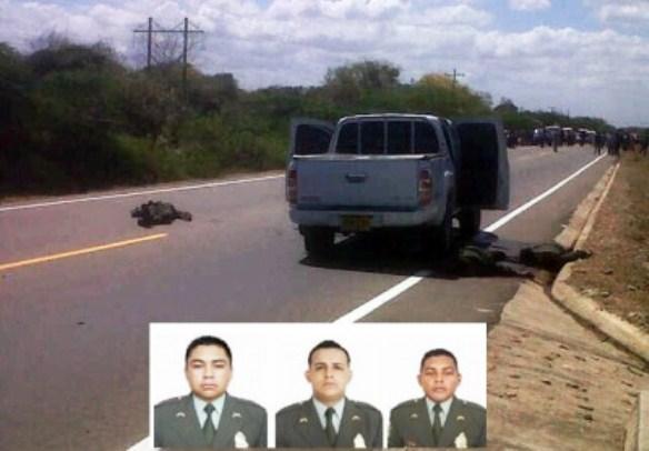 El subintendente Calixto Niño Monroy y los patrulleros Jesús Ricardo Osorio y Andrés Quintero Forero, los tres policías asesinados por las FARC en La Guajira