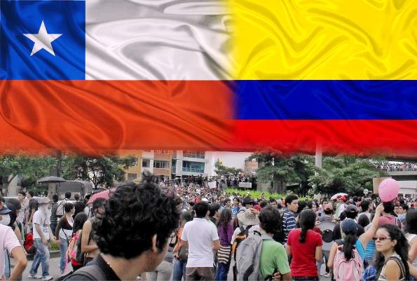 """Colombia y Chile (fotomontaje del grupo de face """"Colombia y Chile una sola voz"""")"""