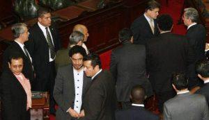 Aquí está Luis Guillermo Pérez Casas, como abogado de Piedad Córdoba, con Iván Cepeda. En el proceso que le montaron al presidente Álvaro Uribe por el tema de las 'chuzadas'