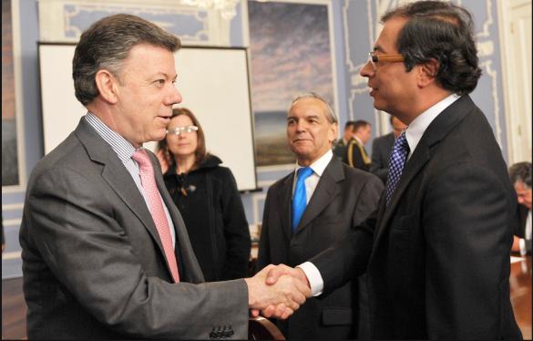 Juan Manuel Santos y Gustavo Petro.