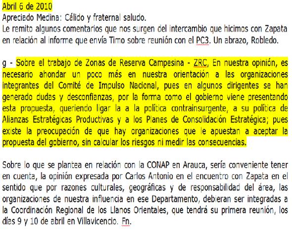 Correo de Alfonso Cano de 2010 sobre las ZRC