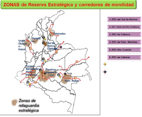 Mapa de zonas de Reserva Campesina estratégicas acorde con los corredores de movilidad