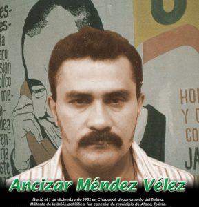 Ancízar Méndez Vélez, sobrino de Alfonso Gómez Méndez, miembro de las FARC y de la Unión Patriótica, su brazo político