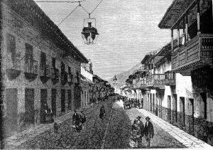 Alumbrado Público en la Calle Real (Hoy Carrera Séptima) en Bogotá, en 1869