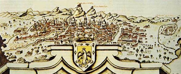 Vista panorámica de la ciudad de Santafé de Bogotá realizada por J. Aparicio Morato en 1772. Copia