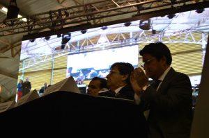 Oscar Iván Zuluaga, Carlos Holmes Trujillo y Francisco Santos, el día de la convención del Centro Democrático