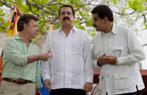 Santos, Zelaya y Maduro