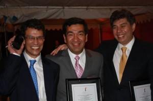Ignacio Gómez, Presidente de la FLIP y subdirector de Noticias UNO, Juan Martínez y Daniel Coronell, dueño de Noticias UNO