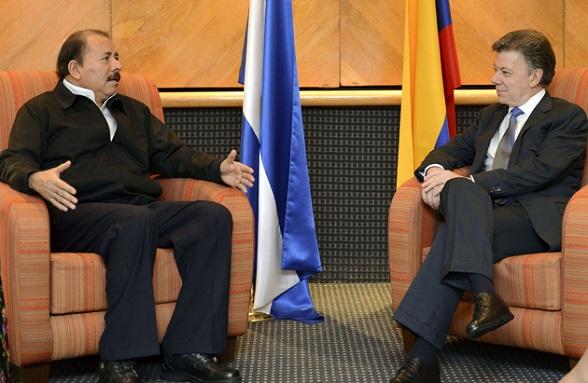 Daniel Ortega y Juan Manuel Santos