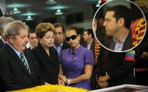 Alexis Tsipras en el velorio de Hugo Chávez
