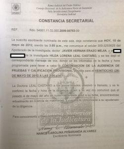 Constancia de Lorena Leal donde se certifica que avisó que estaba en licencia de maternidad