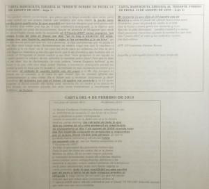 Detalle cartas enviadas por Gutiérrez Salazar al teniente Forero