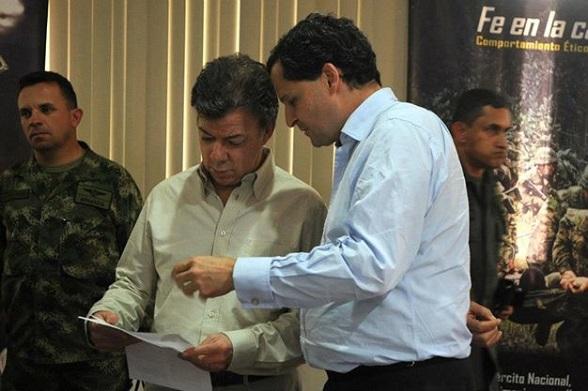 Juan Manuel Santos y Sergio Jaramillo