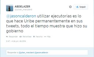 Twitter del Secretario General de la UNP contra Uribe