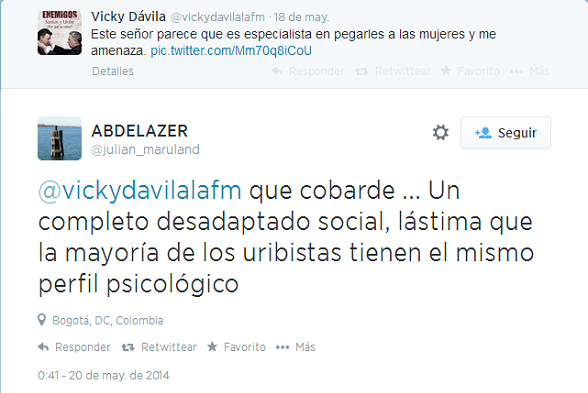 Otro tweet descalificador de la oposición, de Julián marulanda Calero