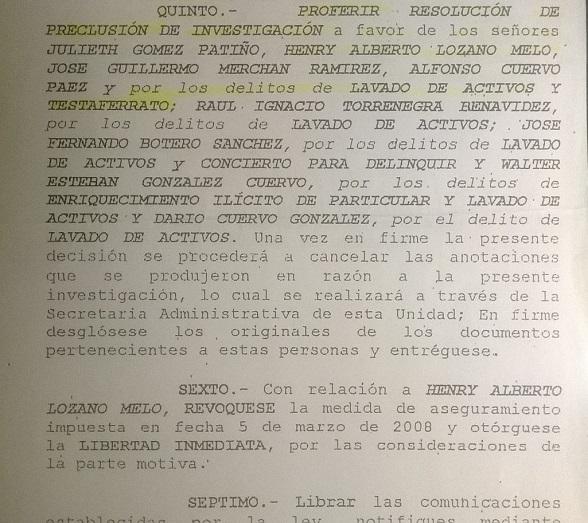 Detalle de la resolución donde se precluye la investigación contra Henry Lozano y se ordena dejarlo en libertad