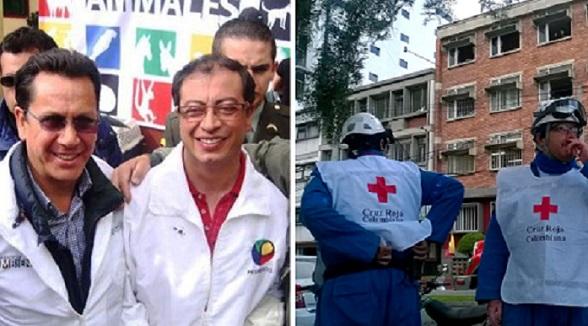 """Gustavo Petro con su principal concejal, Roberto Sáenz (hermano de """"Alfonso Cano"""", comandante de las FARC). Y algunos de los destrozos de la bomba puesta por las FARC en Bogotá"""