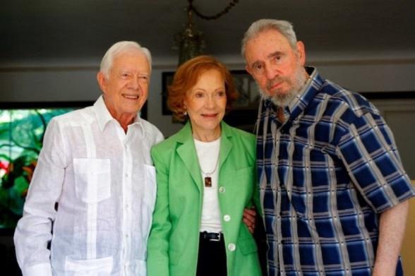 Fidel Castro con su amigo Jimmy Carter y su esposa Rosalyn