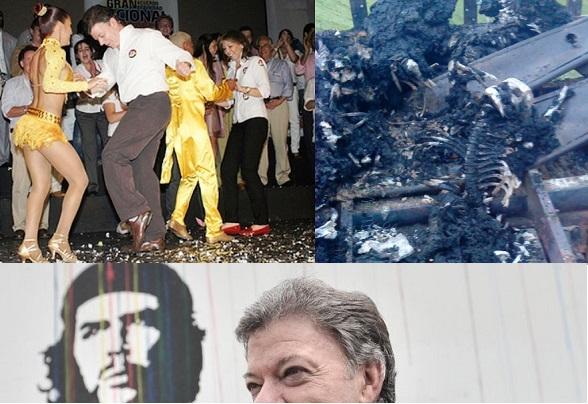 Santos y su esposa danzando mientras las FARC inicineran vivos policías. ¿A qué intereses sirve?