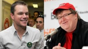 El actor Matt Damon y el documentalista Michael Moore, dos buenos ejemplos de quienes usufructúan el capitalismo pero hablan pestes de éste