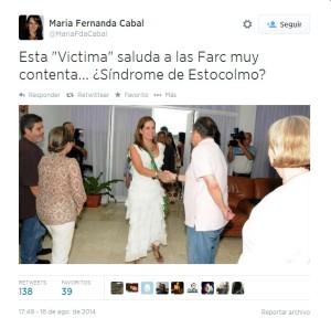 El twitter por el cual la Fiscalía pidió investigar y acusar a la congresista María Fernanda Cabal