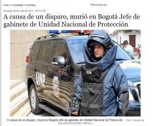 Facsimil de noticia reseñando la muerte de Germán Escobar
