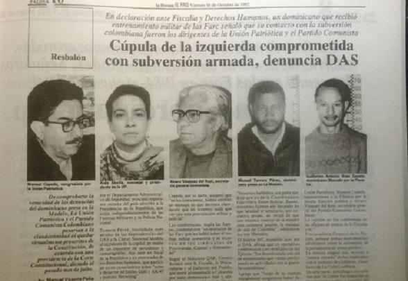 Facsimil de recorte de Prensa donde consta cómo los dirigentes de la UP fueron acusados por las masacres en el Urabá antioqueño