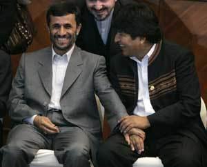 Mahmud Ahmadinejad y Evo Morales