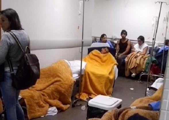Pacientes amontonados en los pasillos del Hospital Conceição por falta de lecho. (Foto Dr Milton Pires)