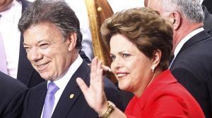 Dilma Rouseff con Juan Manuel Santos, otro de los aliados de Fidel Castro