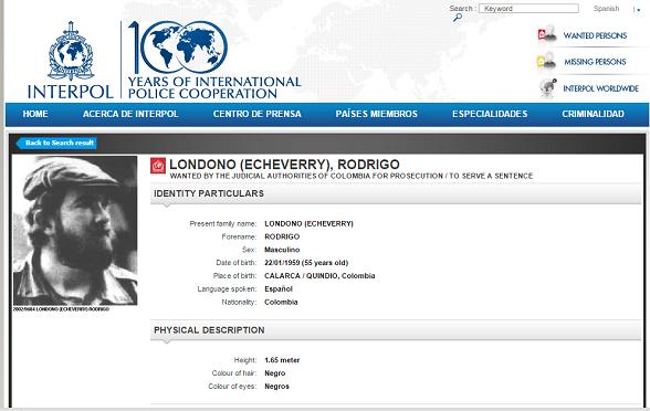 Boletín vigente de Interpol