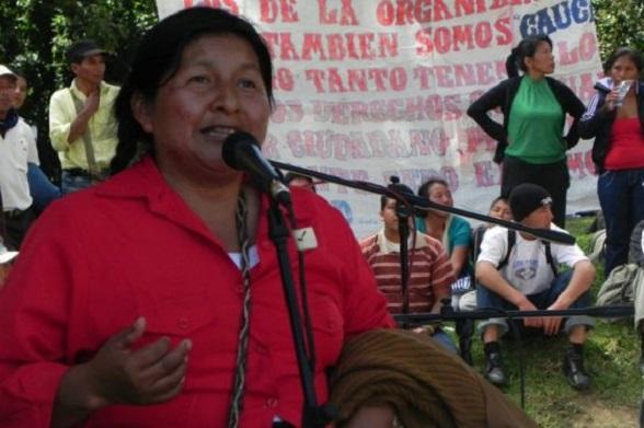 Ana Silvia Secué, representante de la organización OPIC. Convertida al cristianismo evangélico, perseguida por las FARC