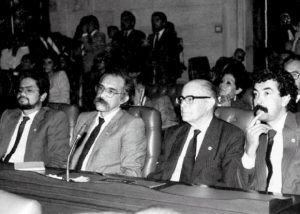 Iván Márquez, Motta, Gilberto Vieira y Bernardo Jaramillo Ossa en el Congreso