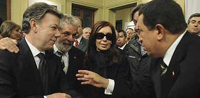 Cristina con Chávez, Lula da Silva y Juan Manuel Santos
