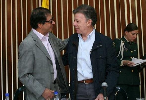 Petro y su aliado, Juan Manuel Santos