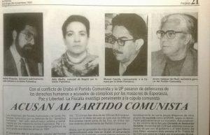 Aida Abella, Vasquez del Real y Manuel Cepeda participaron, según el DAS, en masacres de militantes de su mismo partido y otros