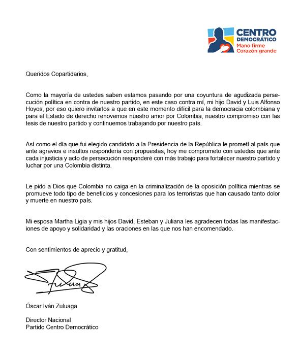 Carta de oscar Iván Zuluaga