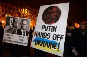 Protestas en Polonia contra Putin y sus acciones en Ucrania