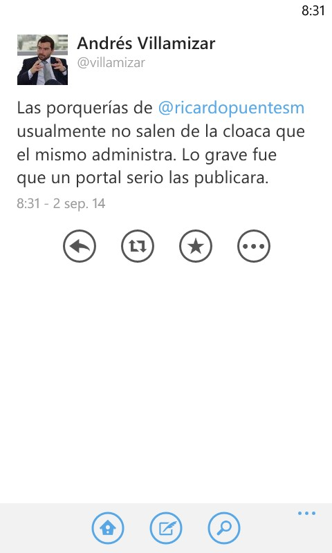 "Trino de Andrés Villamizar llamando ""cloaca"" este portal de periodismo"