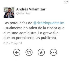 """Trino de Andrés Villamizar, director de la UNP. No sólo retira el esquema de seguridad a Ricardo Puentes, sino que califica de """"cloaca"""", al portal Periodismo Sin Fronteras debido a su oposición al proceso de La Habana"""
