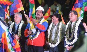 Álvaro García Linera, Nicolás Maduro, Evo Morales y Rafael Correa