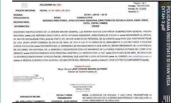 La orden dada a lo policías para salir marchar el 9 de abril de 2015