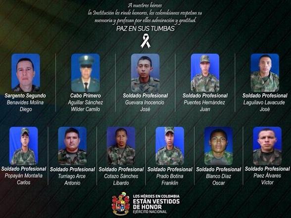Le nouveau massacre dans le village de Timba, Cauca, le 14 avril dernier, où 11 jeunes soldats ont été tués, surpris dans leur sommeil, par des guérilleros des Farc